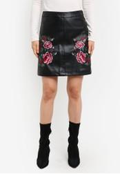 Dorothy Perkins black Black Pu Floral Skirt DO816AA0S7B6MY_1