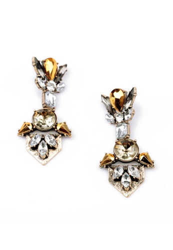 My Fame Diva gold Trident Crystalia Drop Earrings  MY698AC13QPQMY_1