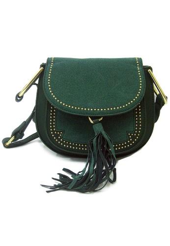 LULUGIFT green Lulugift Retro Gold Rivets Tassel Lady Shoulder Bag Green LU989AC37YNEMY_1