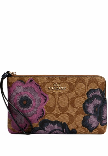 Coach brown Coach Large Corner Zip Wristlet In Signature Canvas With Kaffe Fassett Print - Brown 1EB30ACC534849GS_1