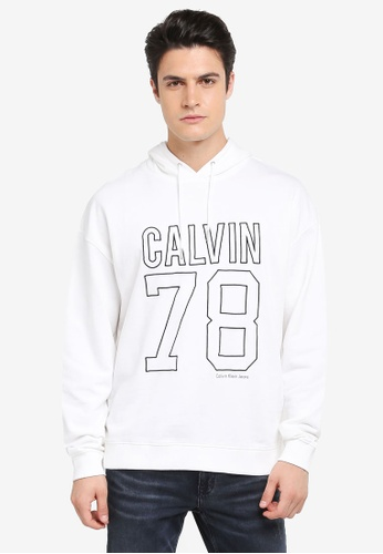 Calvin Klein white Himba 782 Oversized Long Sleeve Hood - Calvin Klein Jeans 3DA2FAA03E785BGS_1