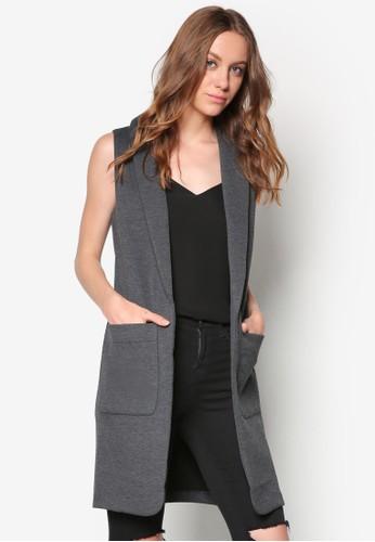 zalora開箱翻領無袖長版外套, 服飾, 夾克 & 大衣
