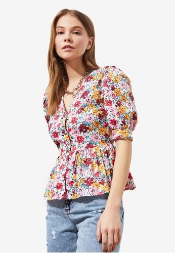 Trendyol multi Puffed Sleeves Floral Shirt 09B2BAAA7EE4BBGS_1