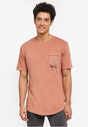 Only & Sons brown Steen Pocket Tee B0D10AA3D8AD17GS_1