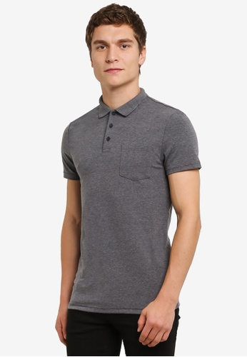 Burton Menswear London grey Muscle Fit Polo Shirt BU964AA0RULRMY_1