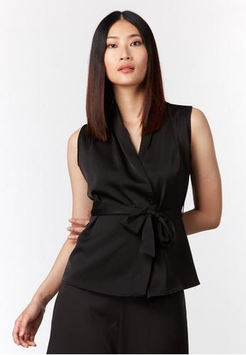 What To Wear black Shoulder Pleats Satin Vest in Black 01A82AA301D7C6GS_1