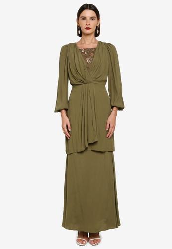 Zalia 綠色 Wrap Drape Long Kurung E0070AAA2083D9GS_1