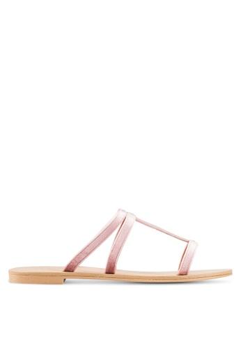ZALORA pink Velvet Sliders 5D58ESH1A28099GS_1