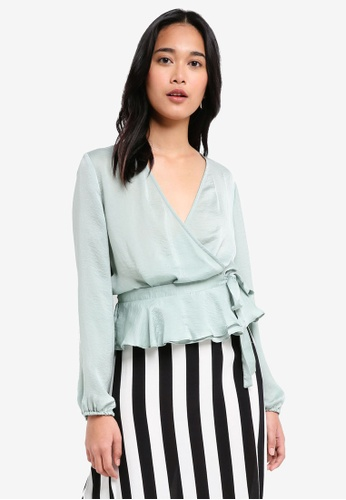 TOPSHOP green Satin Blouson Wrap Blouse 72F11AA44E1860GS_1
