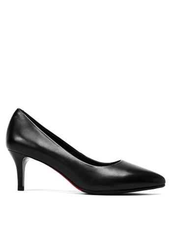 Twenty Eight Shoes 黑色 真皮製服工作高踭鞋 6475 80E51SH5AF79E1GS_1