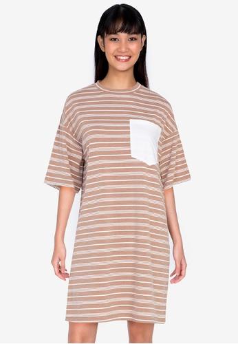 ZALORA BASICS multi Contrast Pocket Oversized T-shirt Dress F0964AA6F9D0D3GS_1