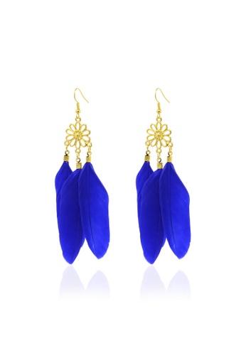 Fur Nyce blue Dangling Feather Earrings FU319AC50TZXMY_1