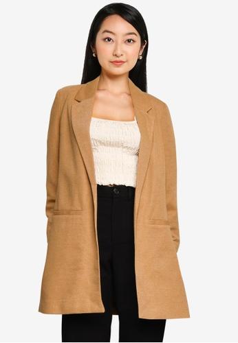 Vero Moda brown Rica 7/8 Long Blazer 84099AAEFD98F5GS_1
