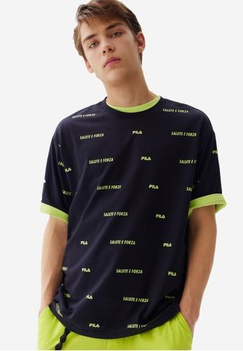 FILA navy All Over Reflective FILA Logo Cotton T-shirt 0CBB0AAD5C7107GS_1