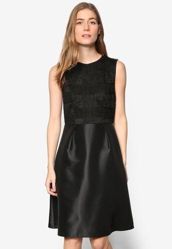 Petite 蕾絲材質拼接無esprit outlet 高雄袖連身裙, 服飾, 洋裝