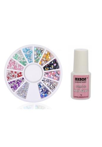Pretty2u multi Nail Accessories Nail Art Sharp Base Diamond Rhinestones Mix Color Shining With Glue Set 96843BE211E320GS_1