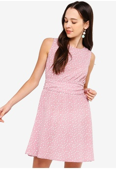 f160ed050e2 Something Borrowed pink Pleated Back Fit And Flare Dress BBDA4AA8A26C9FGS 1