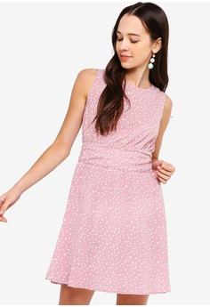eca9e66ea151 Something Borrowed pink Pleated Back Fit And Flare Dress BBDA4AA8A26C9FGS 1