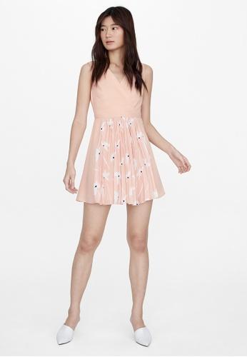 Pomelo pink Mini V Neck Floral Print Dress - Pink 43774AAED29D65GS_1