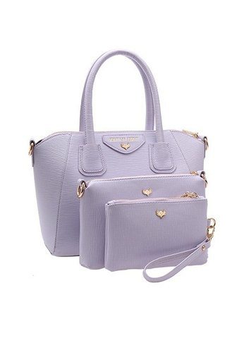 LULUGIFT purple Juicy Purple Europe Brand PU Leather Shell 3in1 Bag LU989AC77UZUMY_1