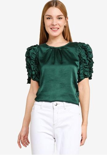 Dorothy Perkins green Green 3D Sleeve Satin Tee 01176AA46826EFGS_1