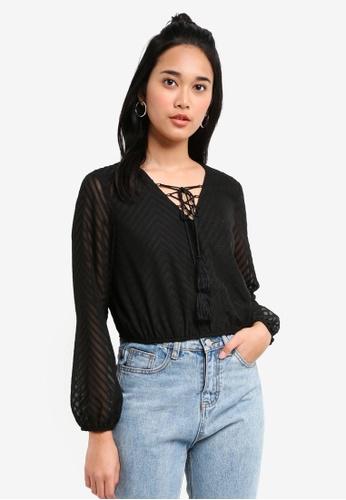 Something Borrowed black Textured Peasant Blouse 7FF17AADCDA571GS_1