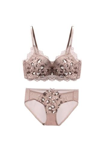 Midnight 褐色 Premium Lace Brown Lingerie Set (Bra and Underwear) 2059CUSC05C0C2GS_1