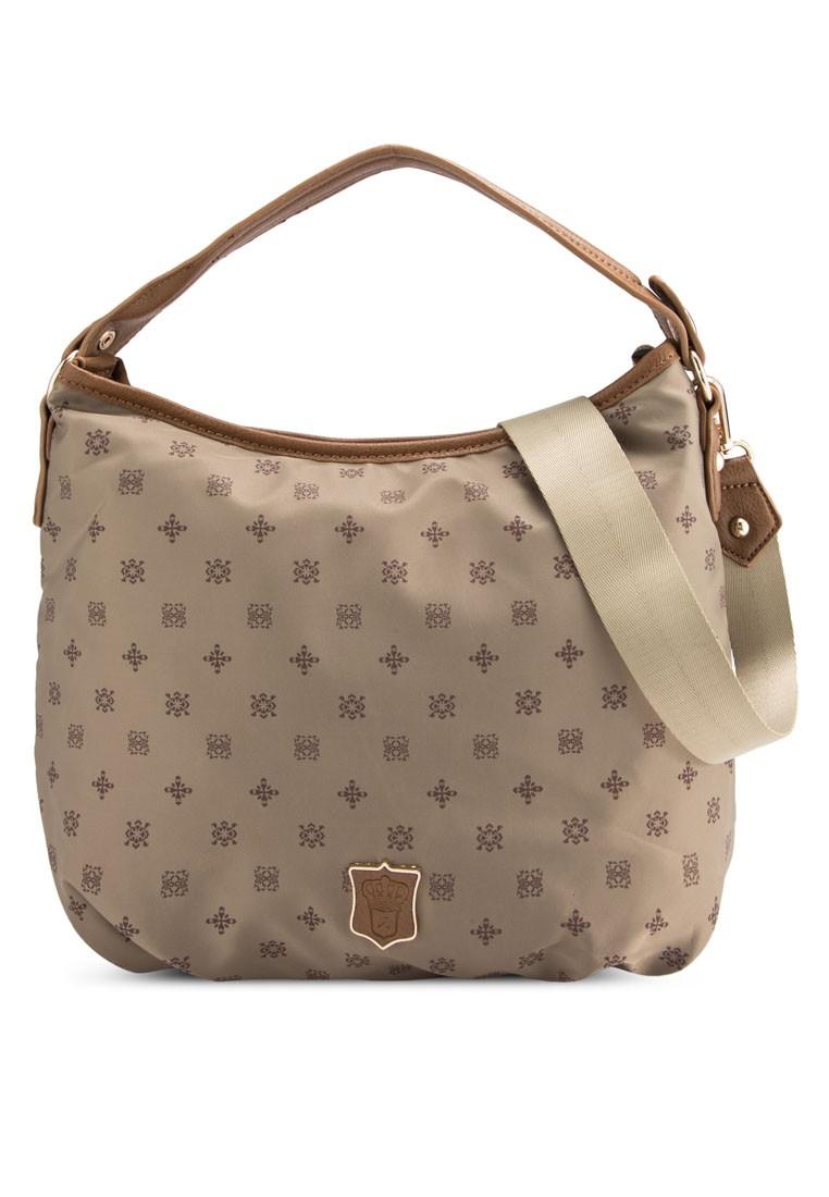 PU-Trimmed Nylon Convertible Hobo Bag