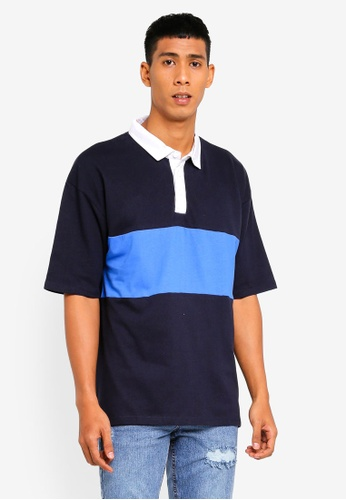 Cotton On 海軍藍色 Oversized 短袖POLO衫 66110AAAF3AFE4GS_1