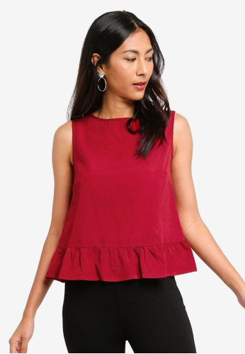 ZALORA BASICS red Basic Ruffles Hem Top 594C9AA6B272A6GS_1