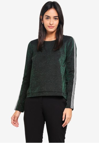 Vero Moda black and green Glitter Long Sleeve Top 67CFCAA9E53B13GS_1