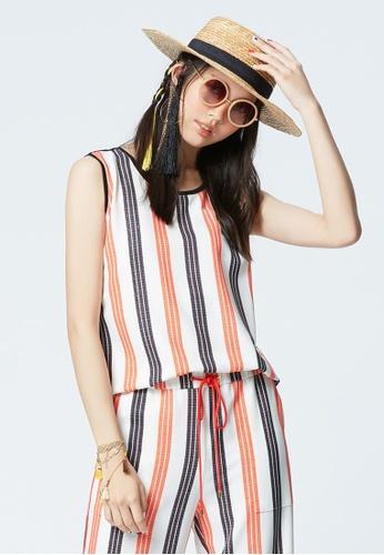 iROO multi Contrast Striped Vest 01D6EAA0E8F121GS_1