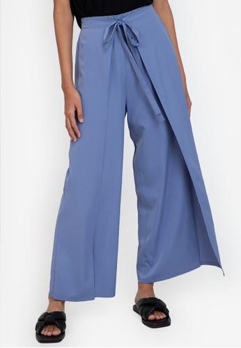 ZALORA BASICS blue Wrap Detail Pants FE9D2AA15DAA10GS_1