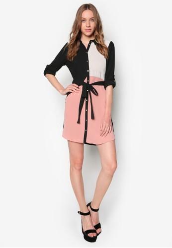 zalora 衣服評價色塊繫帶襯衫式連身裙, 服飾, 洋裝