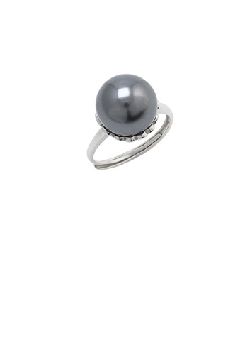 Glamorousky black 925 Sterling Silver Fashion Simple Flower Black Freshwater Pearl Adjustable Ring FE87CACA3B2707GS_1
