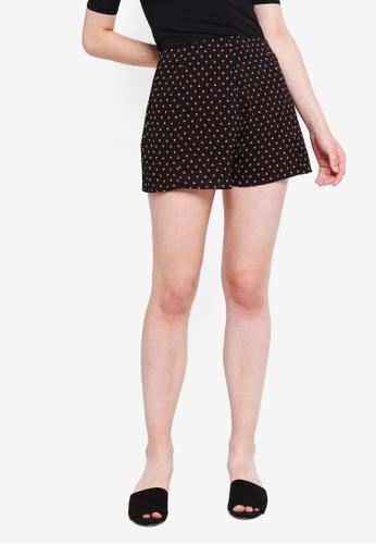 Something Borrowed black Printed Shorts 2AF56AA740339EGS_1