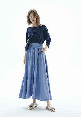 iROO blue Contrast Maxi Dress CE8BEAAE9A2CF2GS_1
