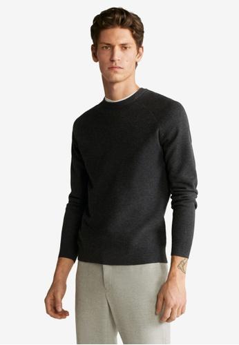 Mango Man grey Striped Structure Sweater FCD2EAADBC4C77GS_1