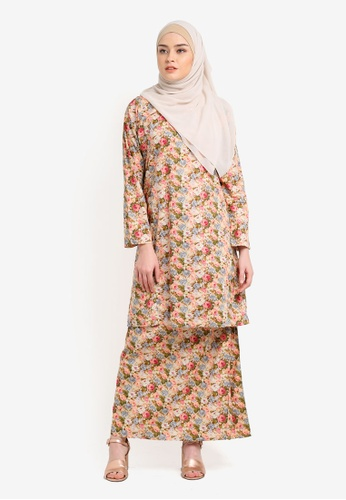 Azka Collection orange and multi English Cotton Baju Kurung AZ019AA0RTSIMY_1