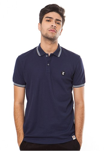 Navy Double-Stripe Kong Logo Polo