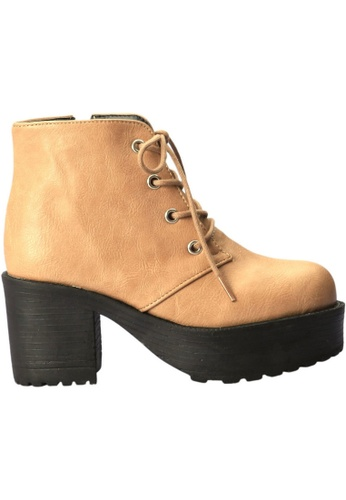 paperplanes beige Paperplanes-1704 Fashion Lace-Up High Top Cuban Heel Boots Shoes US Women Size PA355SH72FNBSG_1