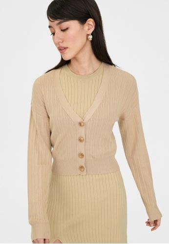 Pomelo beige Rib Knit Cropped Cardigan - Beige C7253AA59C7F06GS_1