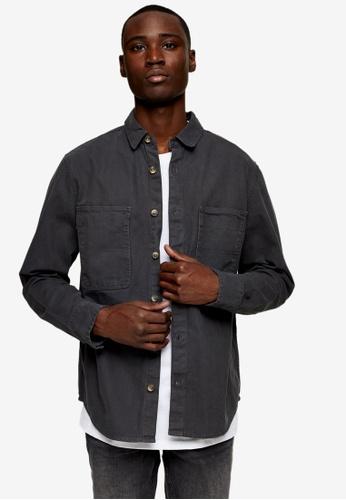 Topman grey Herringbone Overshirt 9AA33AA5A1421EGS_1