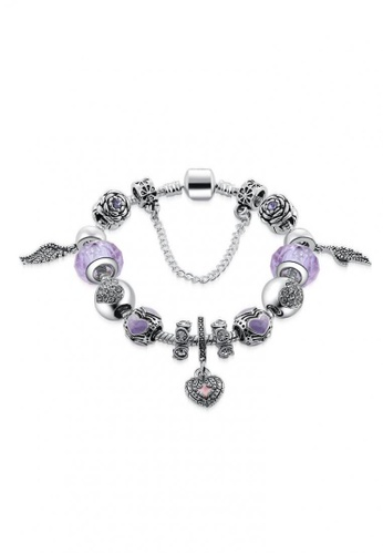 Her Jewellery silver Swarovski® Crystals - Angel Charm Bracelet (Purple) - (18K White Gold Plated) Her Jewellery HE581AC88JVJMY_1