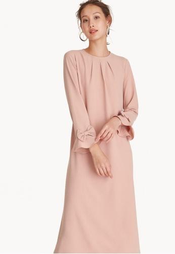 Buy Pomelo Maxi Bow Cuffs Dress - Pink Online | ZALORA Malaysia