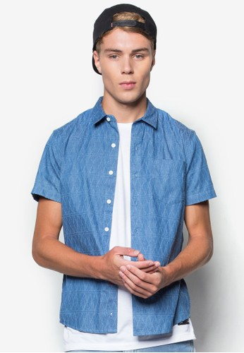 Men's Short Slezalora taiwan 時尚購物網鞋子eves Chambray Button-Down Shirt, 服飾, 短袖襯衫