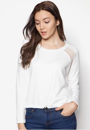 網眼拼接長zalora時尚購物網的koumi koumi袖衫, 服飾, 上衣