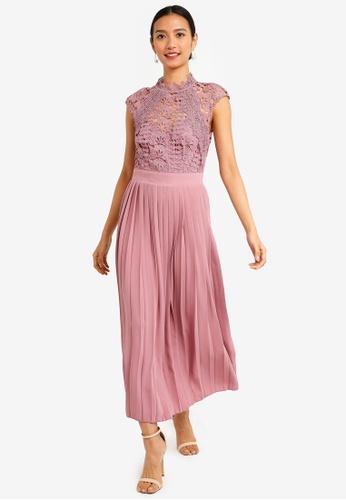 Alanis Blush Lace Top Midaxi Dress