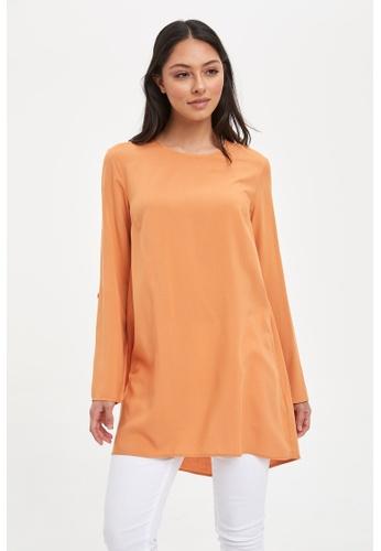 DeFacto orange Woman Long Sleeve Woven Tunic E0D6BAAE5EC533GS_1