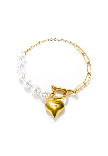 """CELOVIS gold CELOVIS - Margaux """"Love"""" Pendant with Pearls Toggle Clasp Bracelet in Gold E504CAC5FF2ACCGS_1"""